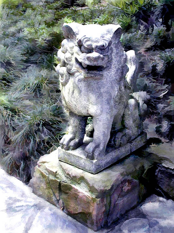 Japanese Garden Poster Featuring The Painting Japanese Garden Lion Dog  Statue 1 By Elaine Plesser