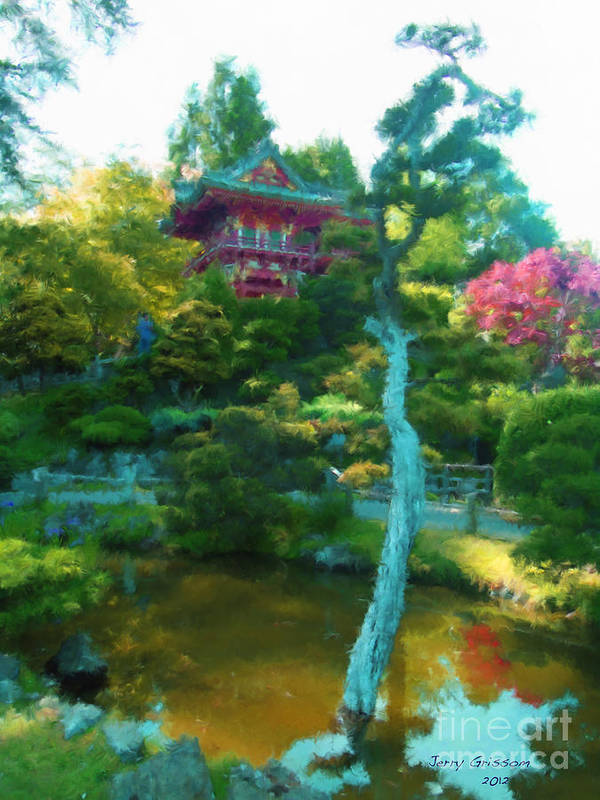 San Francisco Poster featuring the painting Japanese Tea Garden Temple by Jerry Grissom