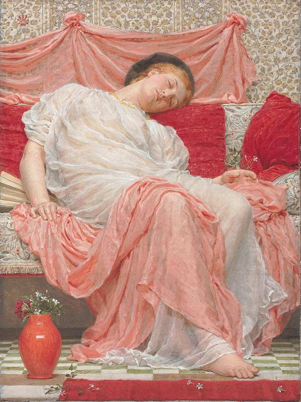 Jasmine (oil On Canvas) Female; Sleeping; Asleep; Resting; Pink; Drapery; Cushions; Vase; Flowers; Pre-raphaelite; Woman Poster featuring the painting Jasmine by AJ Moore