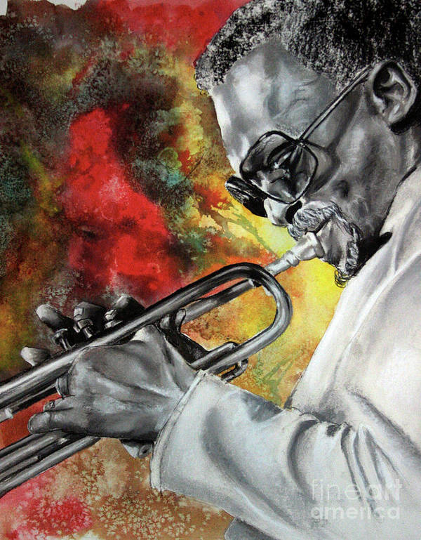 Jazz Poster featuring the mixed media Jazz Fire by Gary Williams