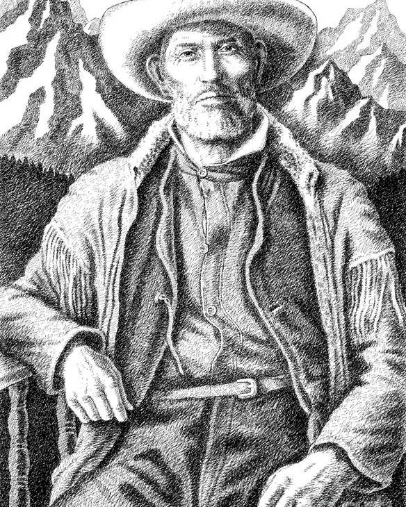 Jim Bridger Poster featuring the drawing Jim Bridger by Gordon Punt