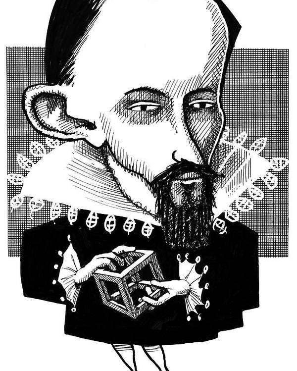 Johannes Kepler Poster featuring the photograph Johannes Kepler, Caricature by Gary Brown