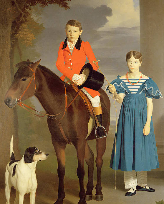 John Poster featuring the painting John Gubbins Newton And His Sister Mary by Robert Burnard