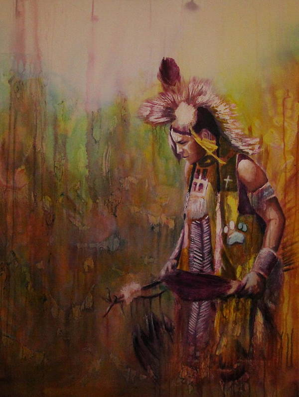 Native Poster featuring the painting Journey by Jerry Frech