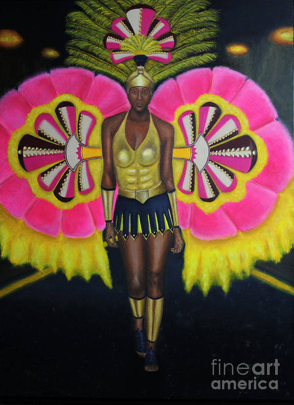 Andros Poster featuring the painting Junkanoo Androsia by Danniel Gaitor