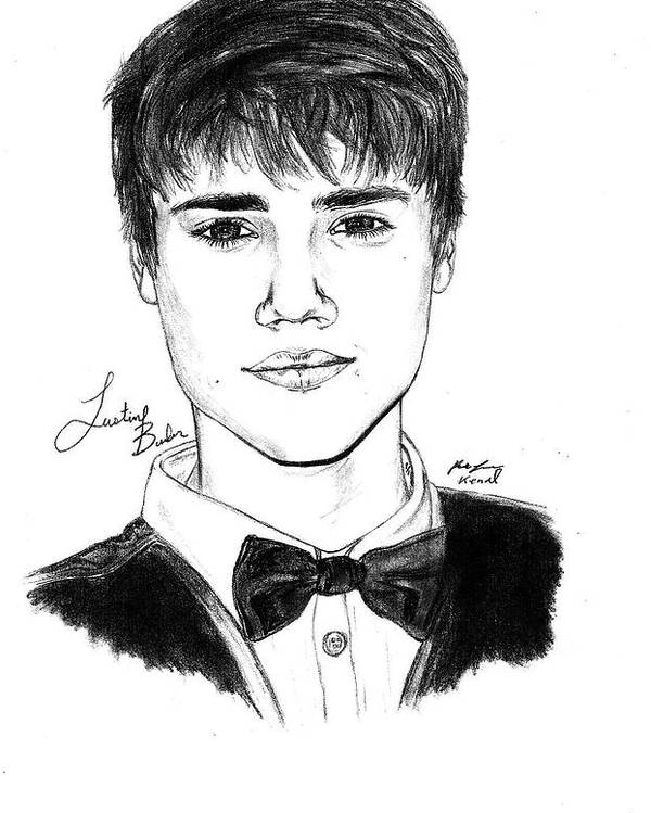 Justin Bieber Suit Drawing Poster featuring the drawing Justin Bieber Suit Drawing by Kenal Louis