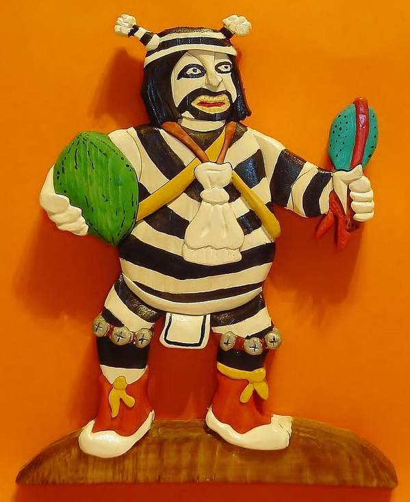 Native American Poster featuring the sculpture Kachina Clown by Russell Ellingsworth