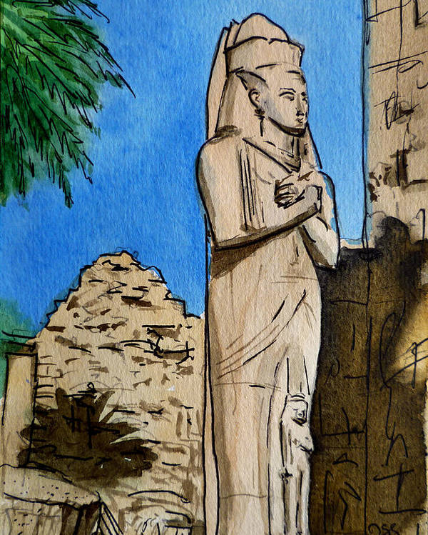 Karnak Temple Poster featuring the painting Karnak Temple Egypt by Irina Sztukowski