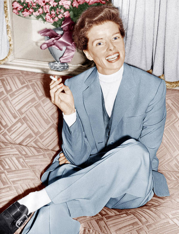 1950s Candids Poster featuring the photograph Katharine Hepburn In England, Ca. 1952 by Everett