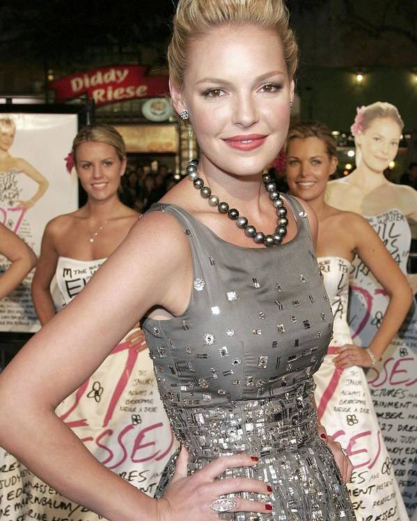 27 Dresses Premiere Poster featuring the photograph Katherine Heigl Wearing A Bill Blass by Everett