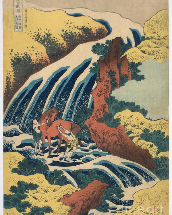 Pd-art: Katsushika Hokusai Poster featuring the painting Katsushika Hokusai Horse Washing by Pg Reproductions