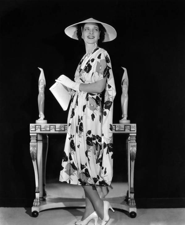 1930s Fashion Poster featuring the photograph Kay Francis Modeling Floral-print Crepe by Everett
