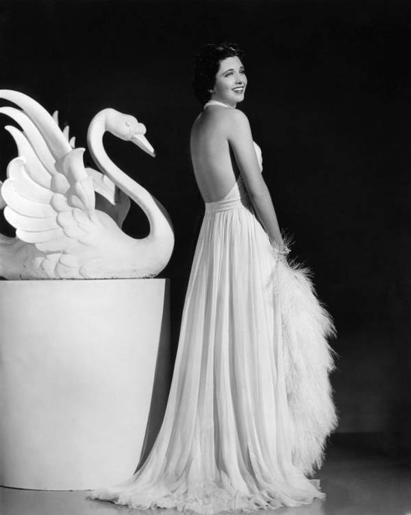 1930s Fashion Poster featuring the photograph Kay Francis Modeling White Chiffon by Everett