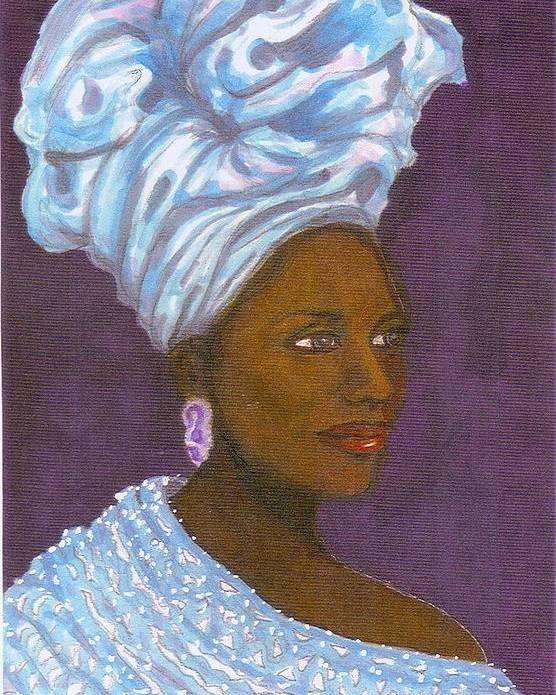 African Woman Poster featuring the painting Kiki by Rhetta Hughes