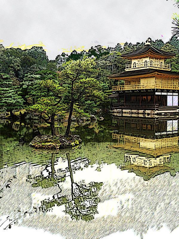 Kinkaku-ji Poster featuring the digital art Kinkaku-ji Kyoto by Sally Fowler