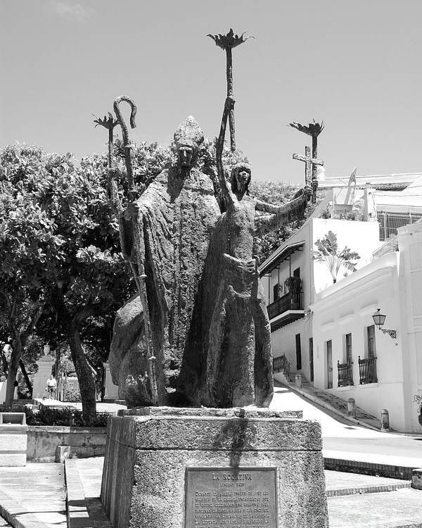 Old San Juan Poster featuring the photograph La Rogativa Sculpture Old San Juan Puerto Rico Black And White by Shawn O'Brien