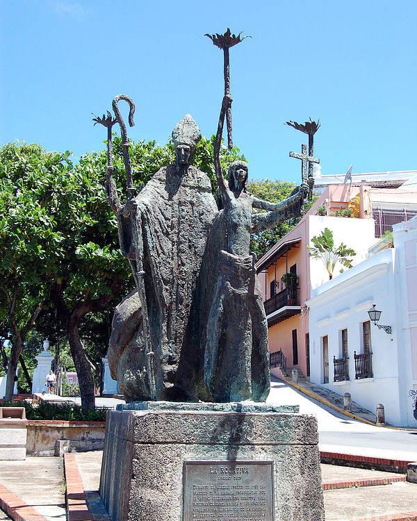 Old San Juan Poster featuring the photograph La Rogativa Sculpture Old San Juan Puerto Rico by Shawn O'Brien