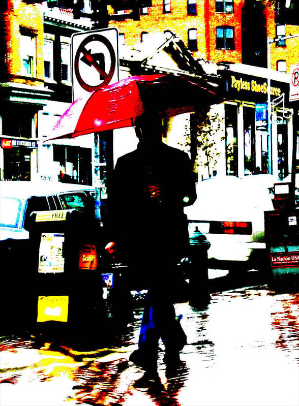 Abstract Digital Photography Red Umbrella Poster featuring the photograph La Sombria Roja by Erick Andrade