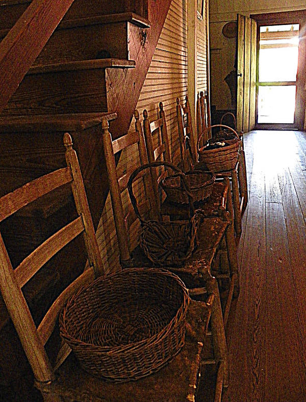 Ladder Back Chairs Poster featuring the photograph Ladder Backs And Baskets I by Sheri McLeroy