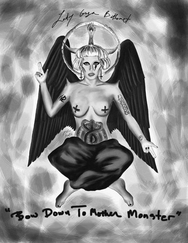 Lady Gaga Baphomet Poster featuring the drawing Lady Gaga Baphomet by Kenal Louis