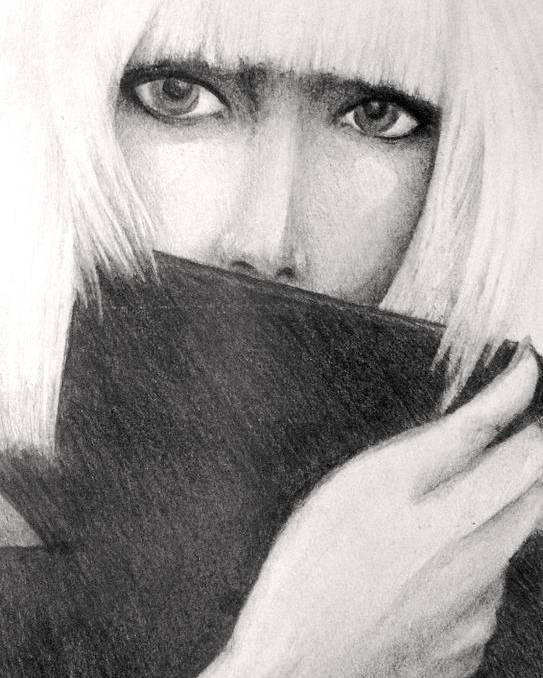 Graphite Poster featuring the drawing Lady Gaga by Melissa Cabigao