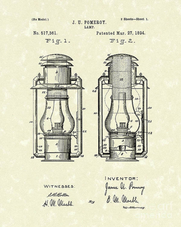 Lamp Poster featuring the drawing Lamp Pomeroy 1894 Patent Art by Prior Art Design