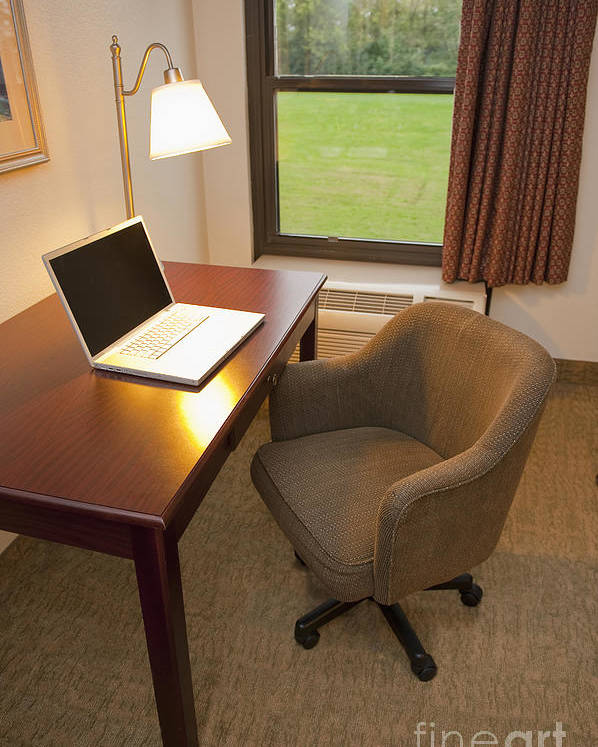 Business Trip Poster featuring the photograph Laptop On A Hotel Room Desk by Thom Gourley/Flatbread Images, LLC