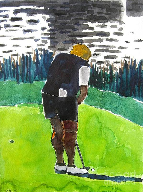 Golf Art Poster featuring the painting Laura Davies by Lesley Giles