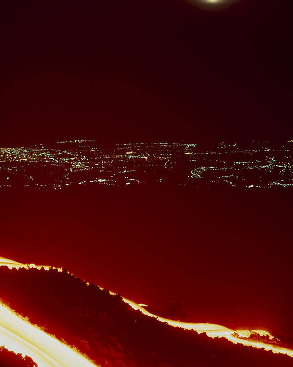 Lava Flow Poster featuring the photograph Lava Flow At Night by Dr Juerg Alean