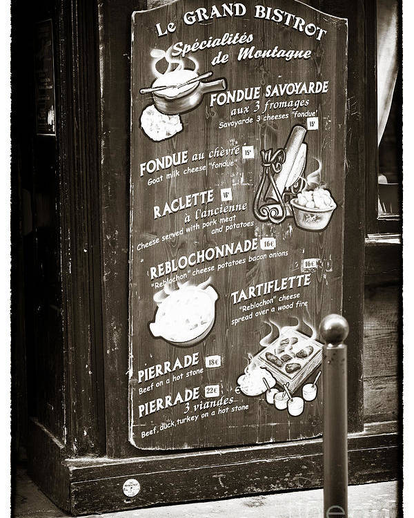 Le Grand Bistrot Menu Poster featuring the photograph Le Grand Bistrot Menu by John Rizzuto