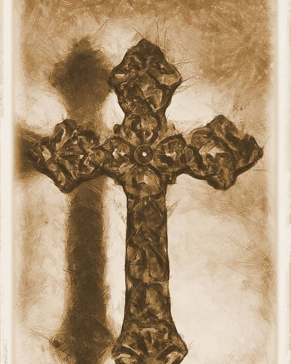 Faith Poster featuring the mixed media Lead Me To The Cross 2 by Angelina Vick