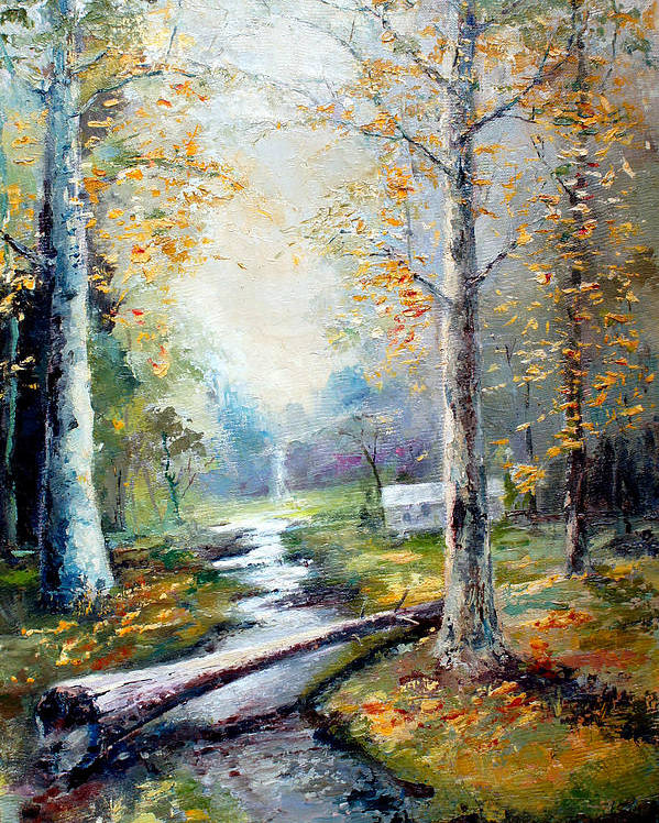 Australian Poster featuring the painting Leaving The Woodland Creek by Giro Tavitian