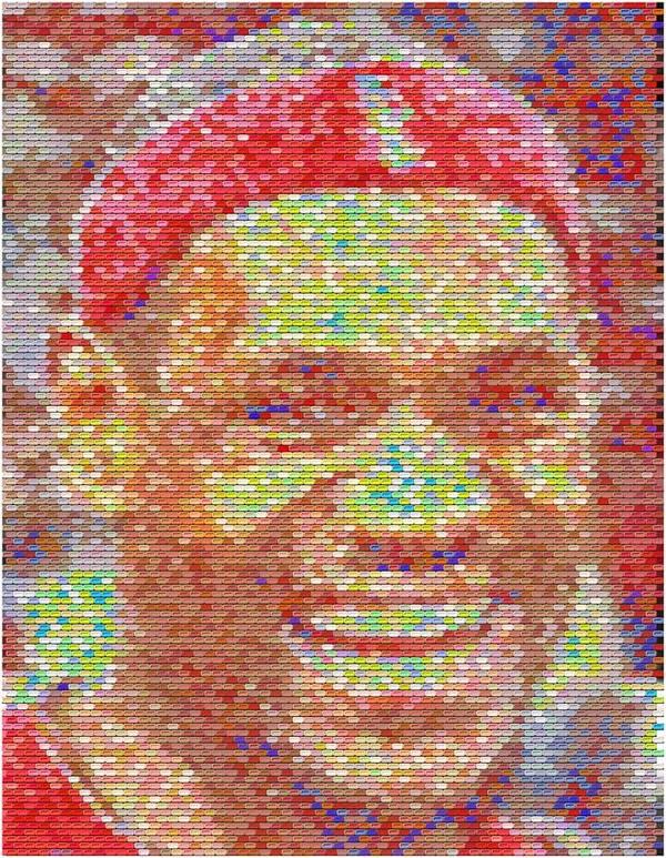 Lebron James Poster featuring the digital art Lebron James Pez Candy Mosaic by Paul Van Scott