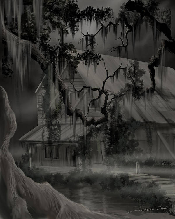 Old Woman Poster featuring the painting Legend Of The Old House In The Swamp by James Christopher Hill