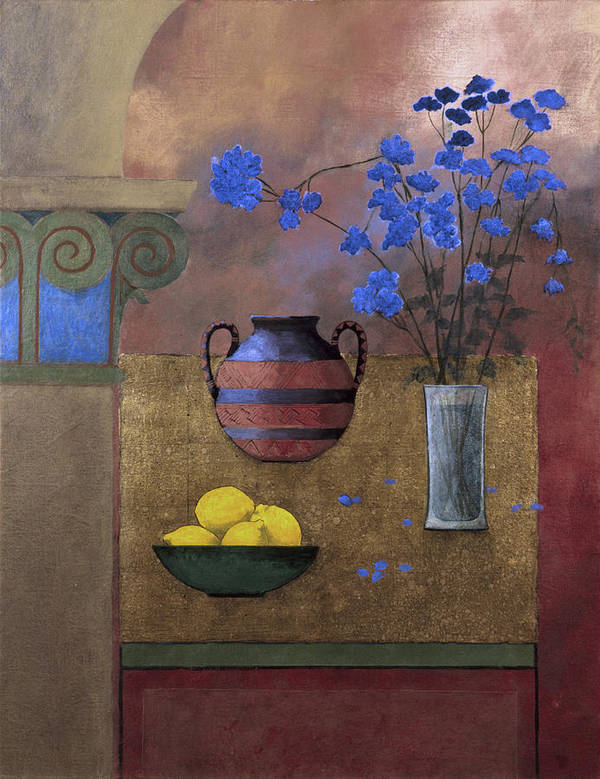 Still-life Poster featuring the painting Lemons by Rohan Lowe