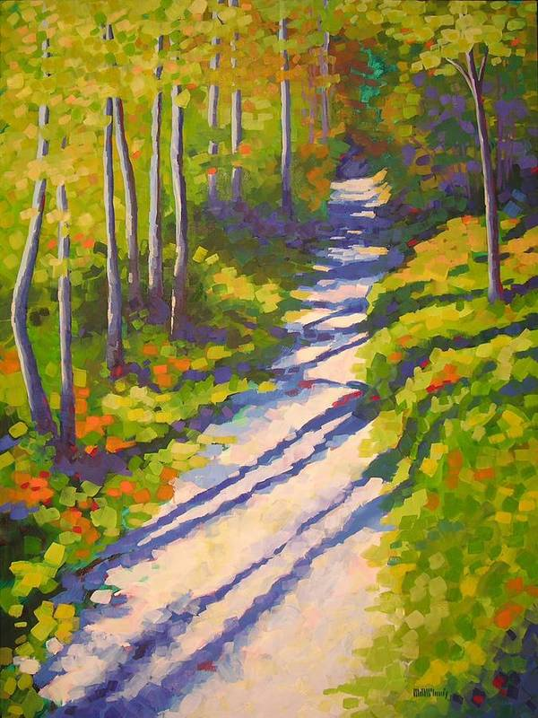 Landscape Poster featuring the painting Lena Lake Trail 3 by Mary McInnis