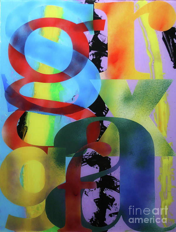 Abstract Poster featuring the painting Letterforms 1 by Mordecai Colodner