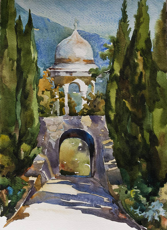 Watercolor Poster featuring the painting Levadia Turkish Gazebo Watercolor by Natalia Sinelnik
