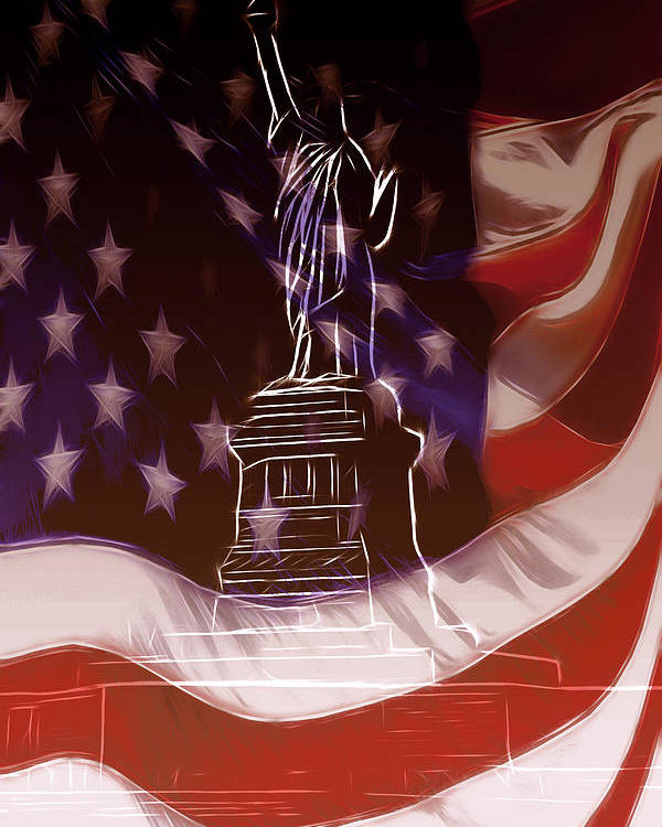 Liberty Statue Us Usa Ny New York Freedom Stars Stripes Flag Nation National Flame Poster featuring the mixed media Liberty For All by Steve K