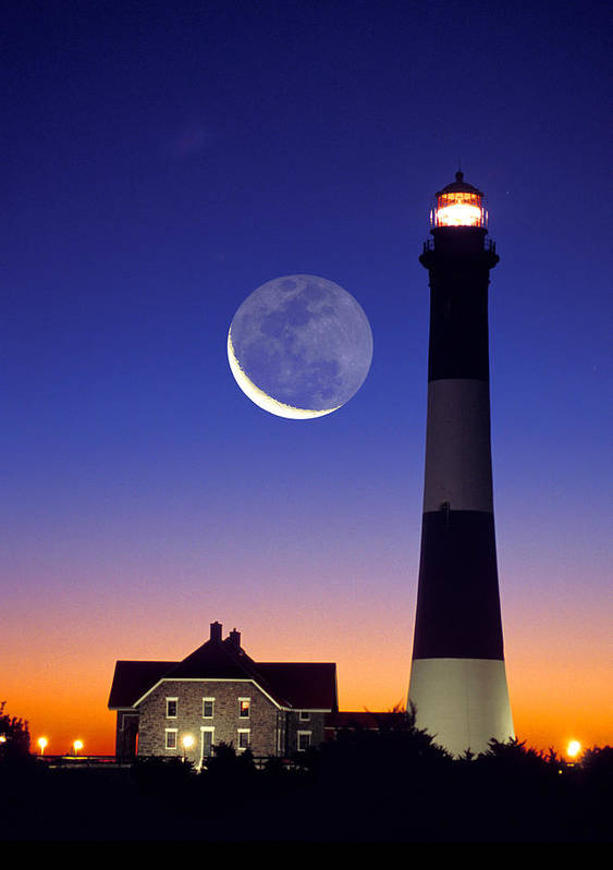 Lighthouse Poster featuring the photograph Lighthouse Crescent Moon by Larry Landolfi