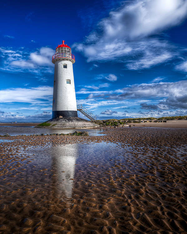 Beach Poster featuring the photograph Lighthouse Reflections by Adrian Evans