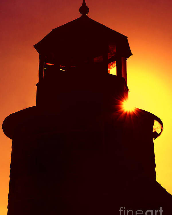 Lighthouse Poster featuring the photograph Lighthouse Sunset by Joann Vitali