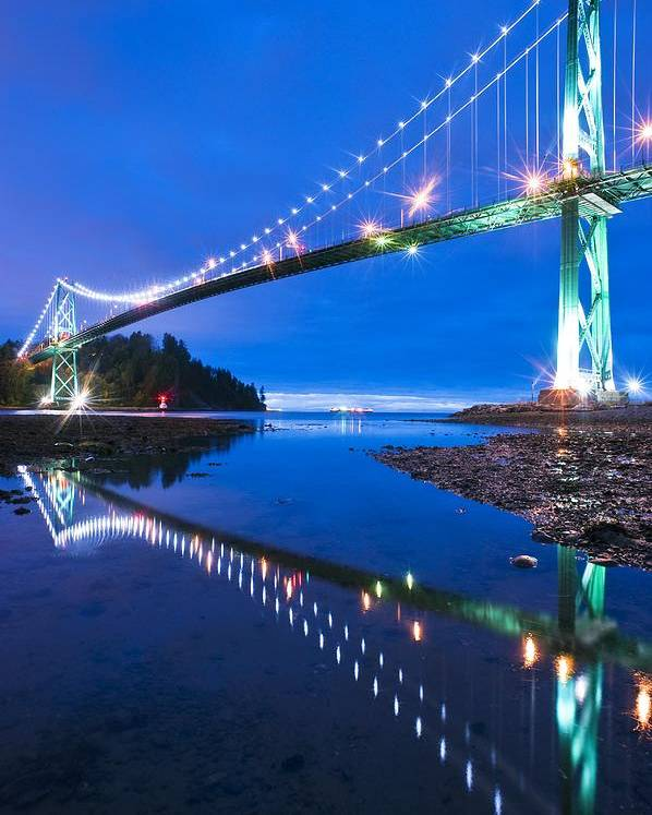Lions Gate Bridge Poster featuring the photograph Lions Gate Bridge, Vancouver, Canada by David Nunuk