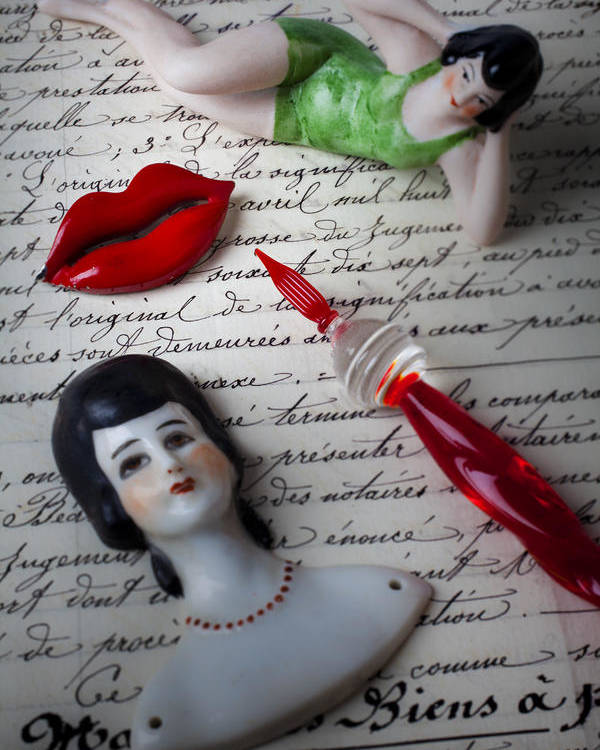 Red Lips Poster featuring the photograph Lips Pen And Old Letter by Garry Gay