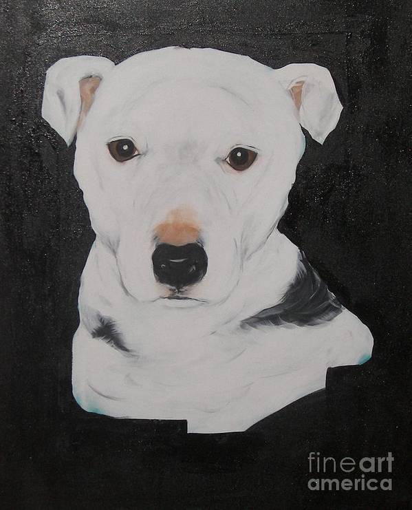 Pets Poster featuring the painting Lobo My Gentle Pitbull by Rachel Carmichael