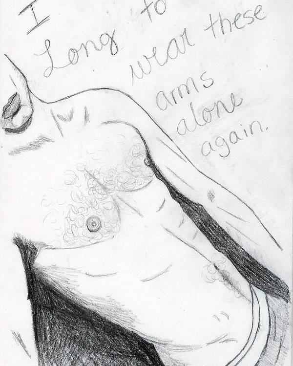 Male Poster featuring the drawing Longing by Rebecca Wood