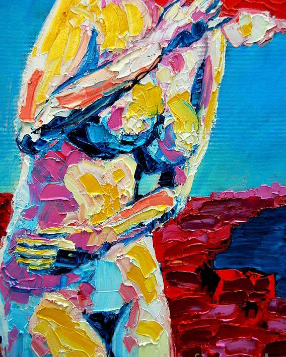 Nude Poster featuring the painting Looking Back by Ana Maria Edulescu