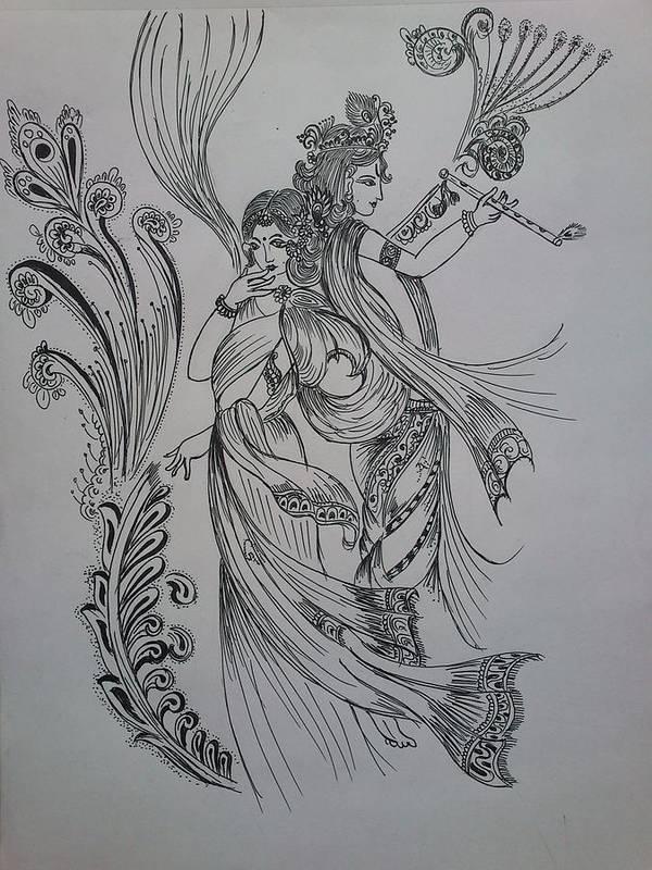 India Poster featuring the drawing Lord Krishna by Aditya Sarawagi