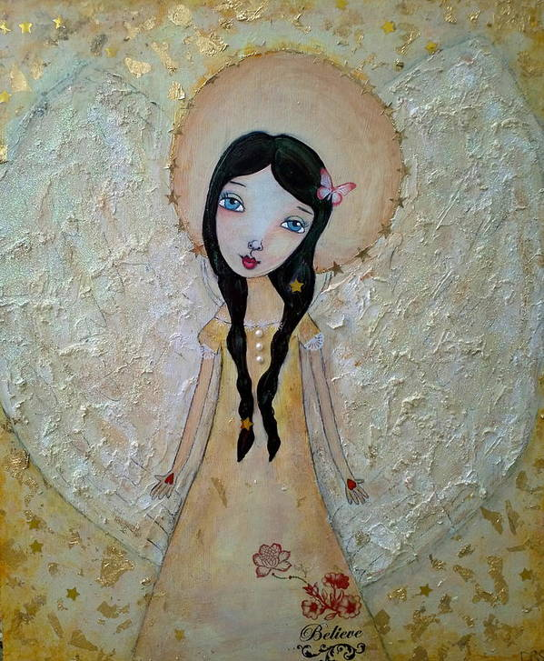 Love Poster featuring the painting Love Angel by Denise Rivkin
