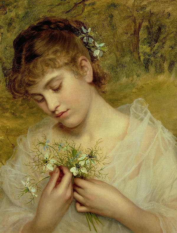 Love In A Mist Poster featuring the painting Love In A Mist by Sophie Anderson